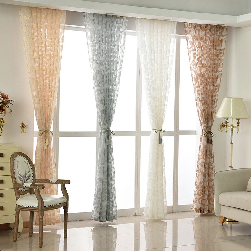 Cortinas de tul Jacquard, Cortinas Voile estilo Pastoral CT03, Cortinas púrpuras decorativas para dormitorio, sala, ventana, pantalla
