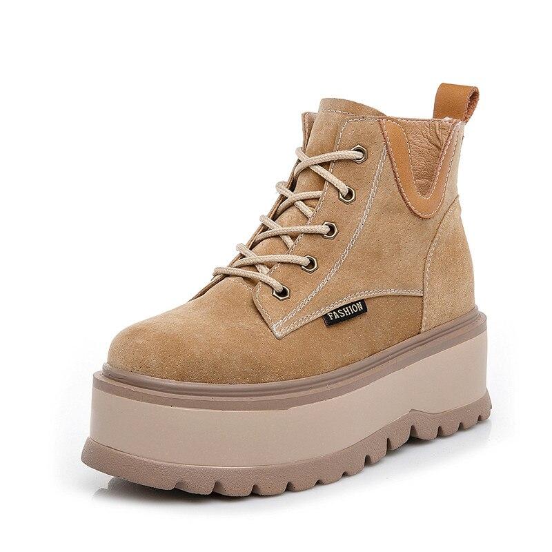 حذاء رياضي نسائي بنعل سميك من الجلد الطبيعي ، حذاء نسائي بنعل سميك ، غير رسمي ، خريف وشتاء 2018