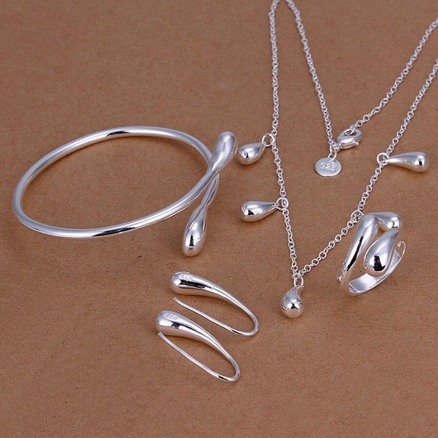 Hot partido anéis brincos pulseiras jóias femininas clássico gotas de água colar de moda conjuntos de jóias de cor Prata, S219