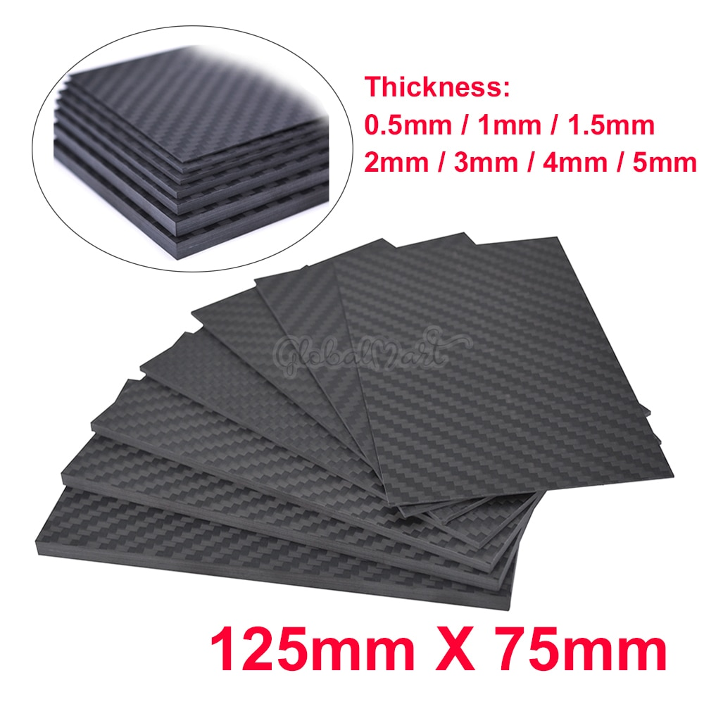 Sarga de superficie mate 3K, de 125mm X 75mm, 0,5-5 MM, hojas de Panel de carbono, Material de alta dureza compuesto, 125X75mm, 0,5mm, 1mm, 2mm