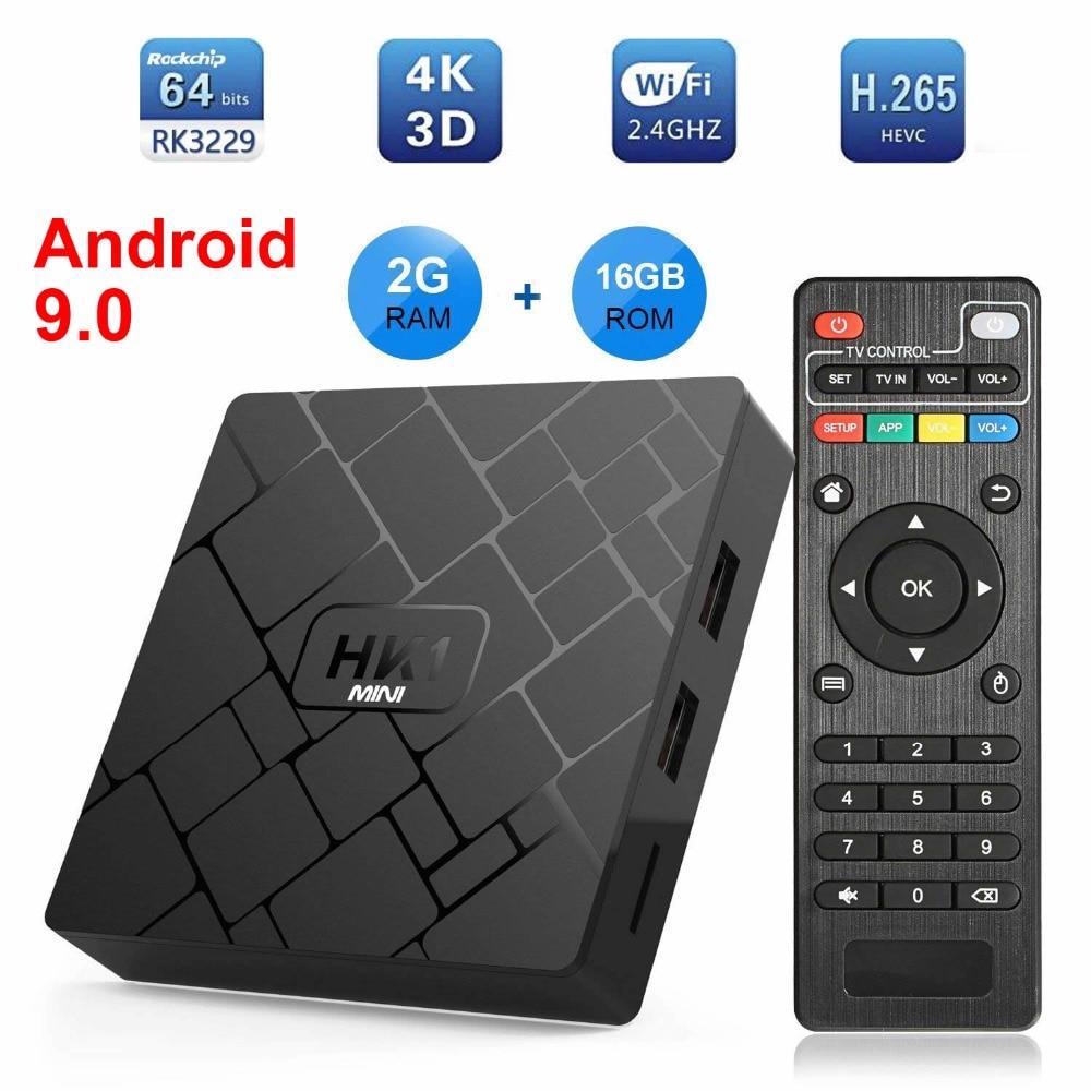 HK1 MINI Android 9,0 Dispositivo de TV inteligente Rockchip RK3229 Quad core 2GB Ram 16G Rom H.265 4K TV Sep Top BOX Media Player PK X96 MINI TX3