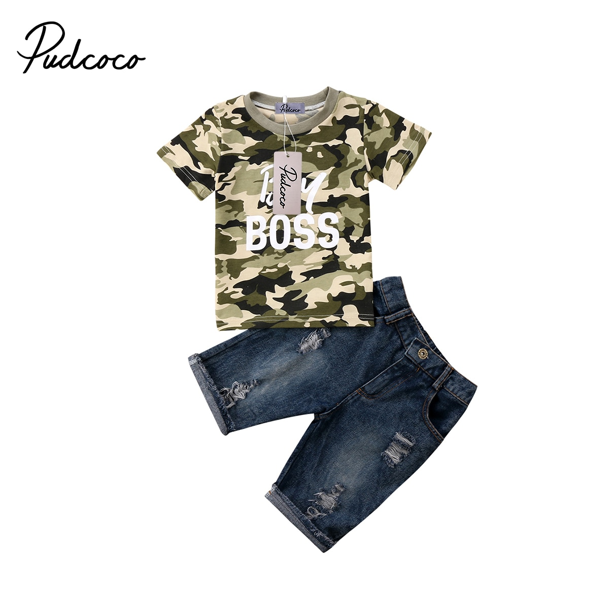 2018 marke Neue Kleinkind Infnat Kind Baby Jungen Kleidung T Shirt Camo Tops Denim Hosen Outfits 2Pcs Set Kinder sommer Kleidung 1-6T