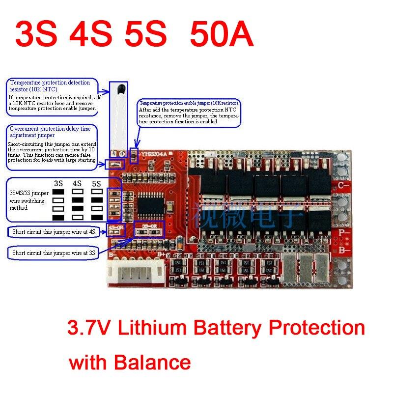 3S 4S 5S 50A con Balance de 3,7 V 18650 batería de litio PCB Placa de protección BMS protección de carga de batería de polímero