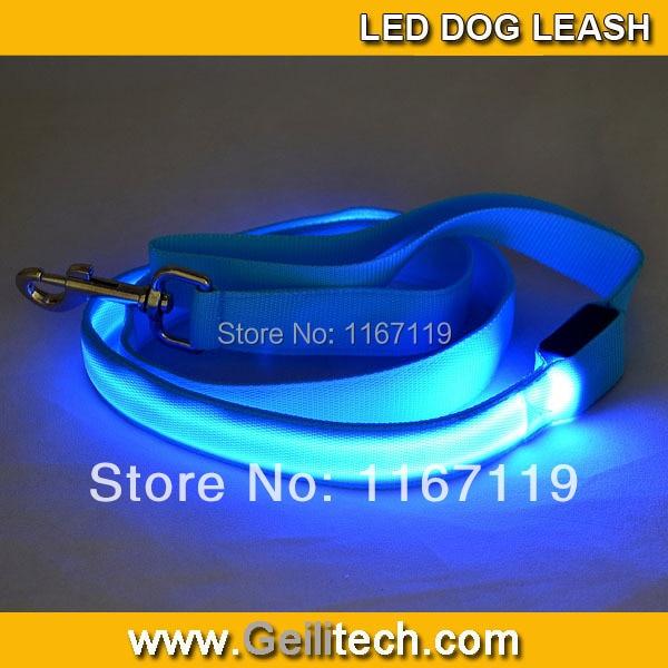 New 2015 Glow in Dark Adjustable Pet Dog Night Safe Flashing Light LED Neck Strap Collar  Double light LED Dog Leash