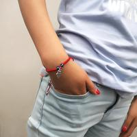 Handmade Adjustable Lucky Red Rope Thread Bracelets 1、2 Blue Turkish Evil Eye Pendant Charm Women Adjustable String Bracelet