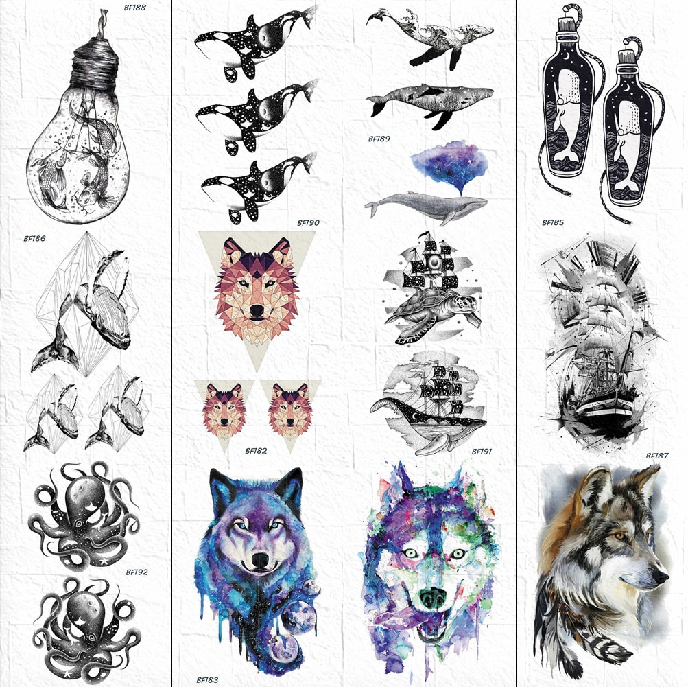 Tatuajes temporales de ballena pequeña vankars para mujer, tatuajes geométricos de zorro, tatuajes de delfín negros falsos, Cosméticos impermeables