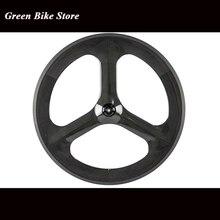 Fabrik Preis Carbon Rad Fixed Gear Fahrrad Rad Tri 3 SpokesTrack Bike Klammer Laufradsatz T700 Straße Räder