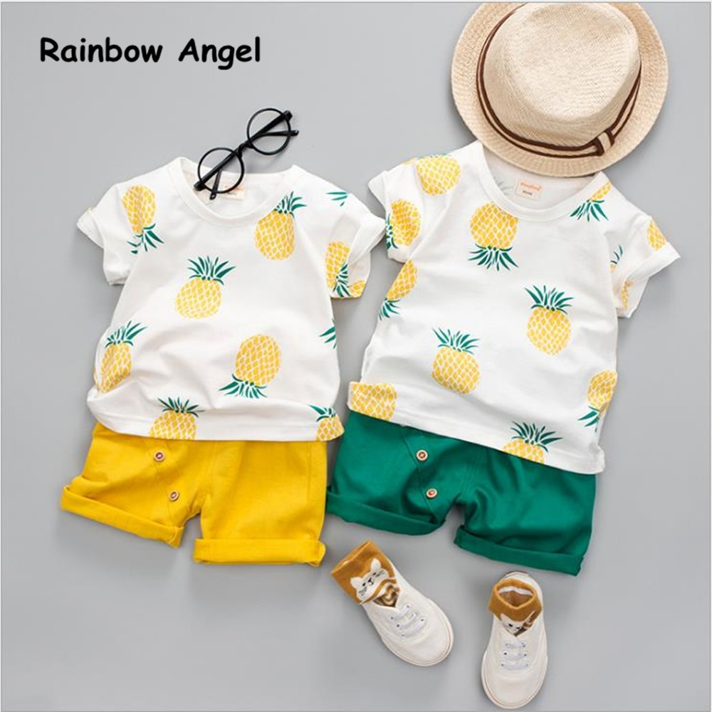 New 2019 Summer Fashion Baby Set  Pineapple Girls Boy Clothing Sets Tops +Shorts 0-4 Year Suit Clothes