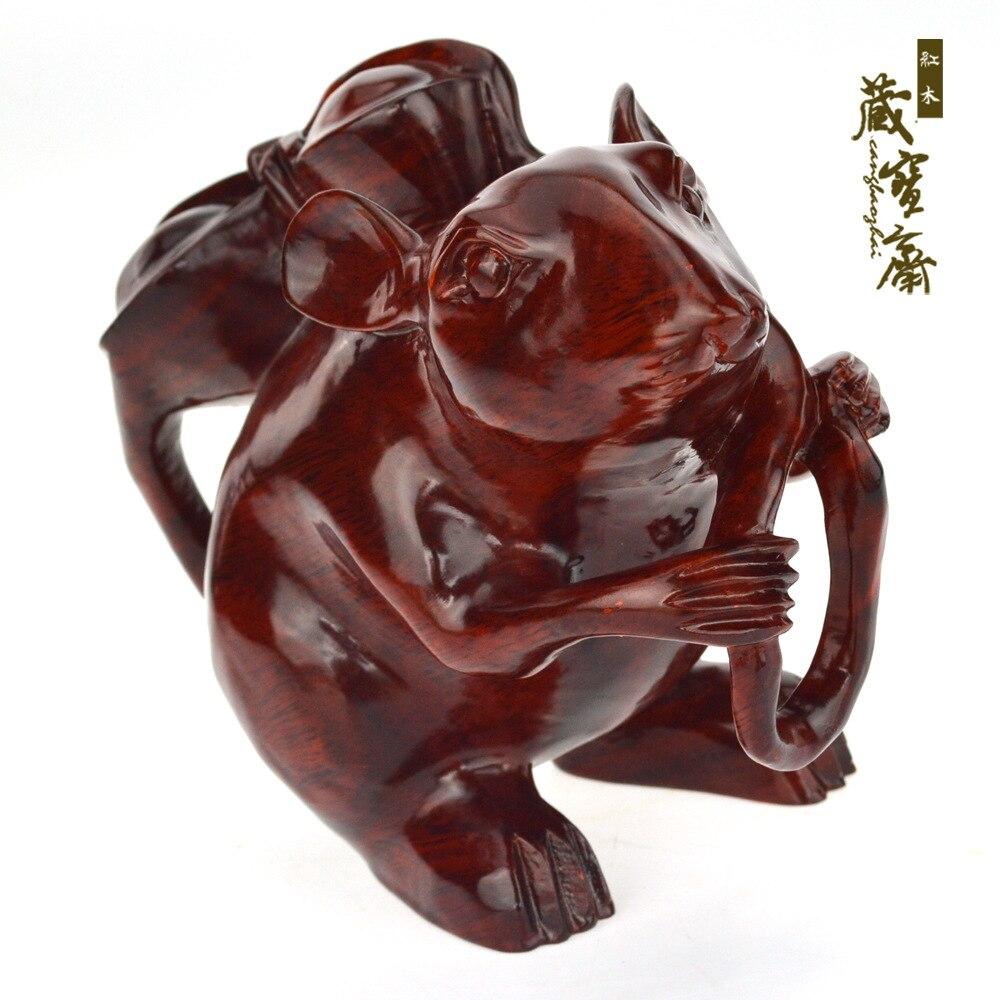 Mouse Mouse enfeites esculturas em mogno Zodíaco ornamentos de ouro dinheiro Canguru Rato Do Presente