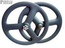 Powereleasy BMX 20 pouces 451 3 rayons carbone disque roue Tri roues route roues pneu 20 vélo 3 branches jante tri-rayons