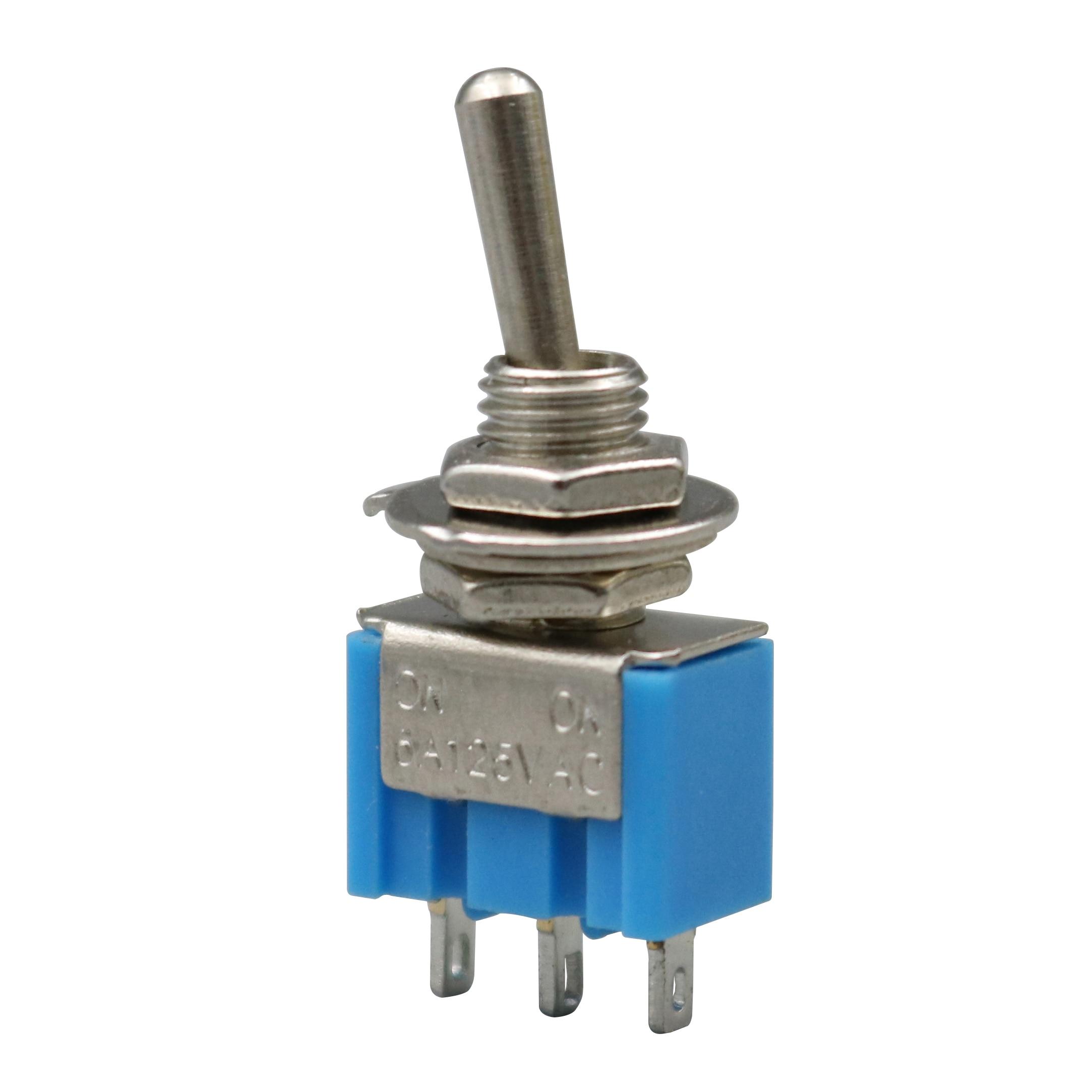 10 pçs azul MTS-102 3 pinos 6mm mini spdt ON--ON 6a 125vac interruptores de alavanca