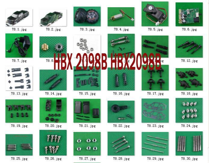 Hbx 2098b 1/24 4wd mini carro peças de reposição do motor receptor servo corpo escudo do pneu eixo da movimentação engrenagem rolamento puxar haste parafuso