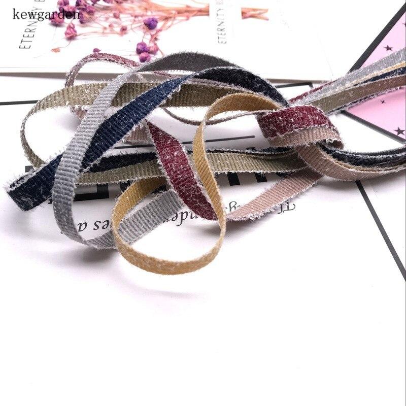Kewgarden 7mm peludo lado Grosgrain cintas hecho a mano cinta bricolaje Bowknot accesorios cintas de satén cinta 12 m/lote