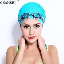 CKAHSBI adultes taille libre casquette de natation cheveux longs Sports de natation en plein air plissé chapeau élastique Nylon Turban pour femmes hommes maillots de bain casquette