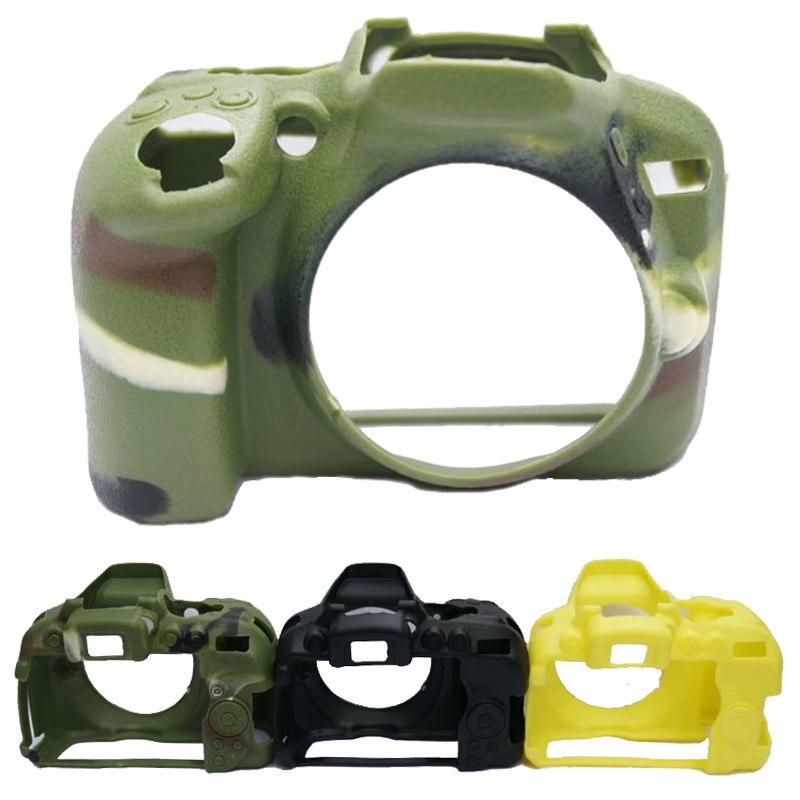 Bolsa de cámara de goma de silicona suave bolsa de cámara para cámaras Nikon D5300 funda de cubierta de cuerpo piel camuflaje negro amarillo