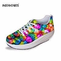 INSTANTARTS Fashion Women Rose Flower Printing Flat Slimming Shoes Floral Design Breathable Flat Swing Shoes Plarform Shoes Girl