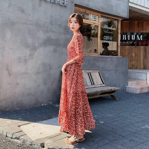 Floral manga alargamento vintage vestido longo feminino tornozelo-comprimento v-neck impressão vestidos vintage chiffon etnik elbise roupas femininas