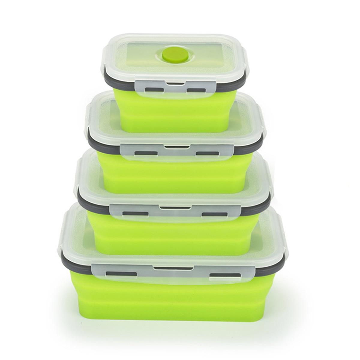 De silicona de moda portátil plegable caja de Bento plegable caja de almuerzo para alimentos vajilla/350/500/800/1200 ml