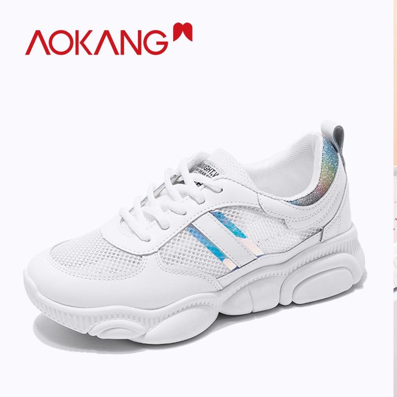 AOKANG, gran oferta, zapatos informales blancos para mujer, zapatos de oso, zapatillas de mujer de fondo grueso, cómodas zapatillas transpirables de moda para mujer