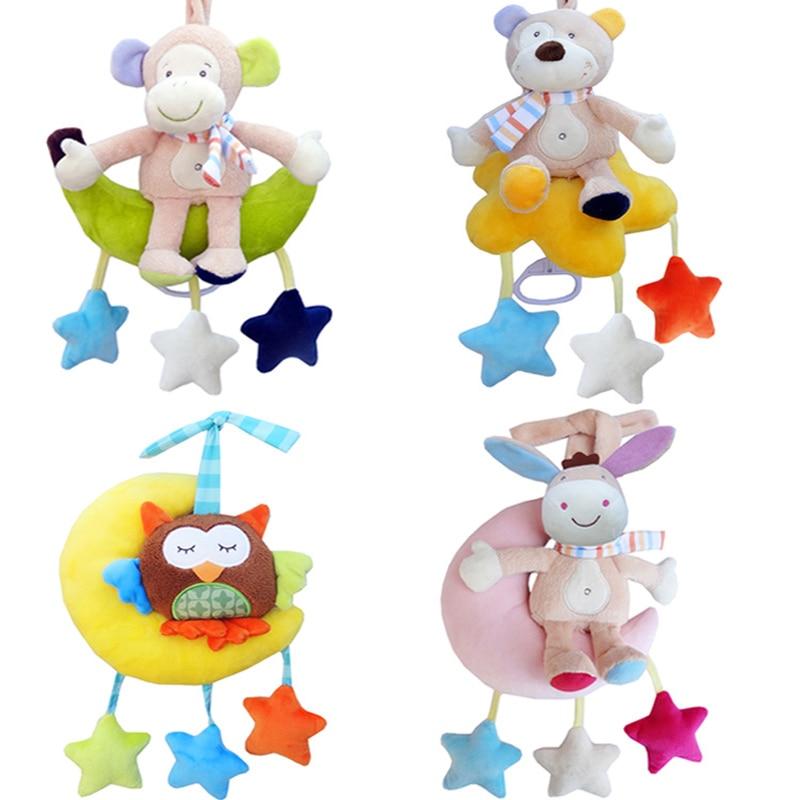 Niños lindo juguete de Animal para cuna móviles muñecos colgantes dibujos animados mono oso búho suave peluche sonajeros para bebé