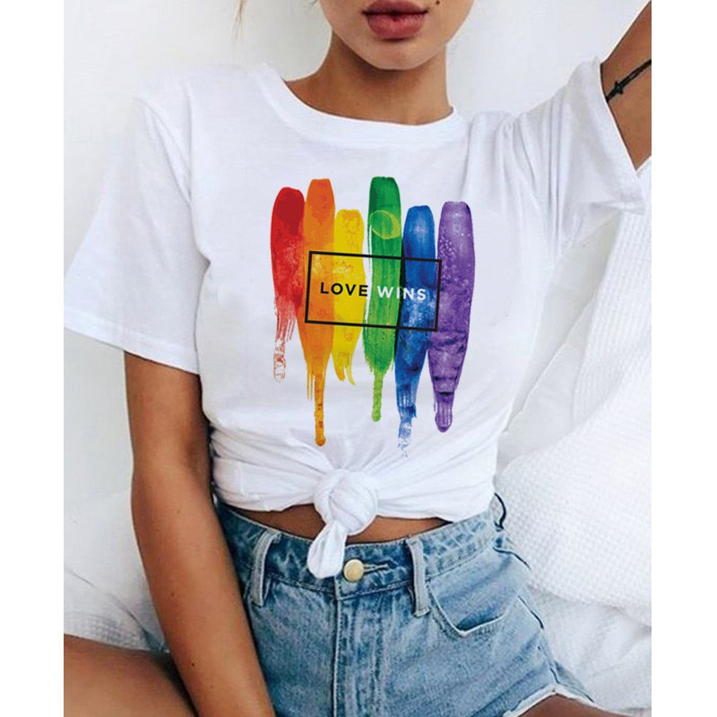Футболка с надписью «Love Wins», «love Wins», «love is Love», «love», «love», «Love», «love», «love», «Love», «love», «rainbow», футболка, kawaii femme, рубашки