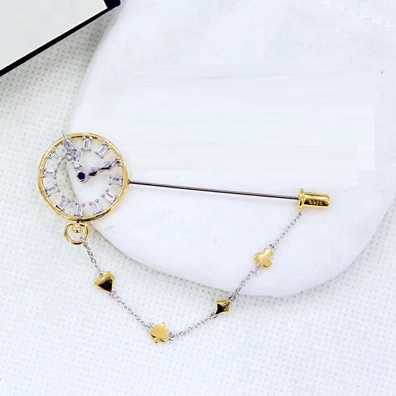 Moda 925 Plata de Ley zirconia bolsillo reloj broche Alice conejo bolsillo reloj mujeres boda Poker Caballero joyería