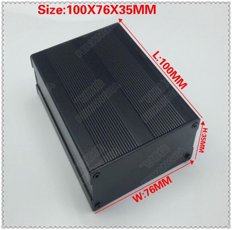 (Envío gratis) 100x76x35mm negro extruido caja de aluminio PCB de instrumento DIY carcasa de proyecto electrónico