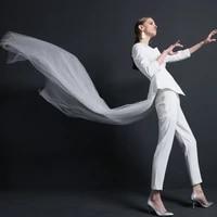 high quality women suits pants suit irregular white suit fashion ol jacket body building 2 pieces suit wedding suit with veil