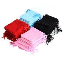 Takı Ekran Toptan 100 adet Mix Renk 10x12cm Takı Çantası kadife Kılıfı Noel Düğün Parti Kadife hediye çantası #90004