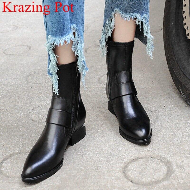 2021 de moda de gran tamaño extraño estilo de cuero genuino cremallera botas de tobillo elegante del dedo del pie redondo botas de moto para invierno zapatos L2f7