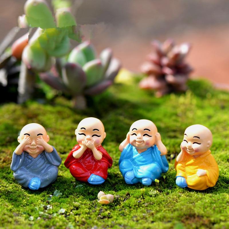 4 unids/set el pequeño monje para decoraciones miniaturas