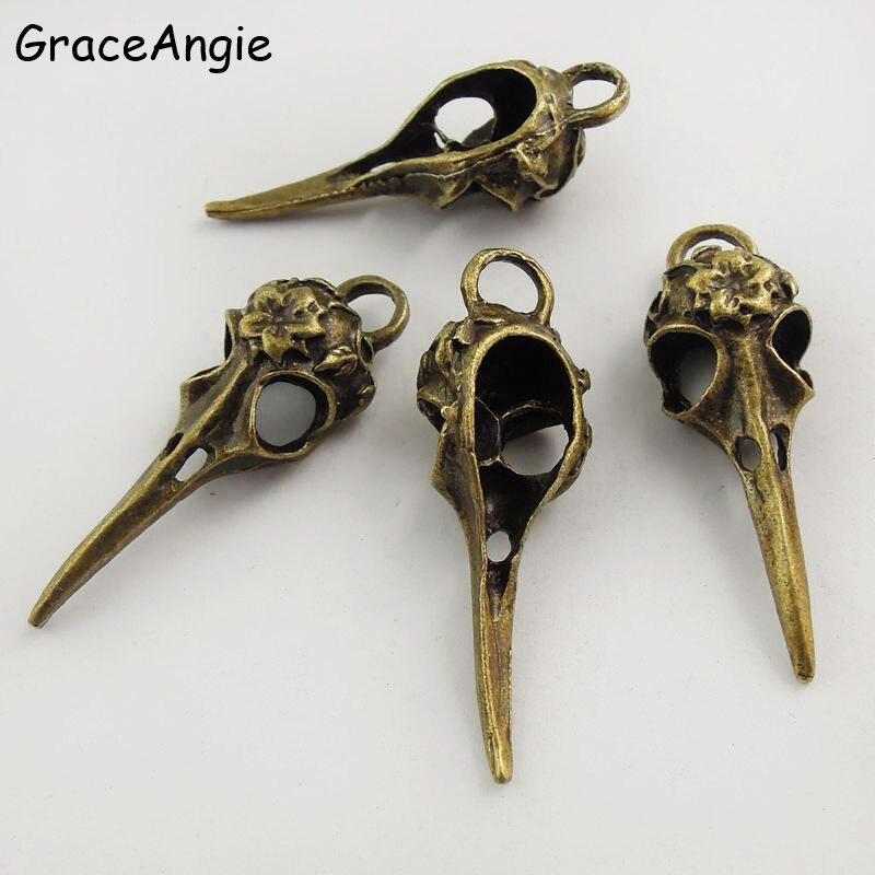 GraceAngie, 5 шт., подвески в стиле панк, античная бронза, Череп, голова птицы, острый рот, подвеска, ручная работа, подвесные поделки, винтажное ювелирное изделие в поисках