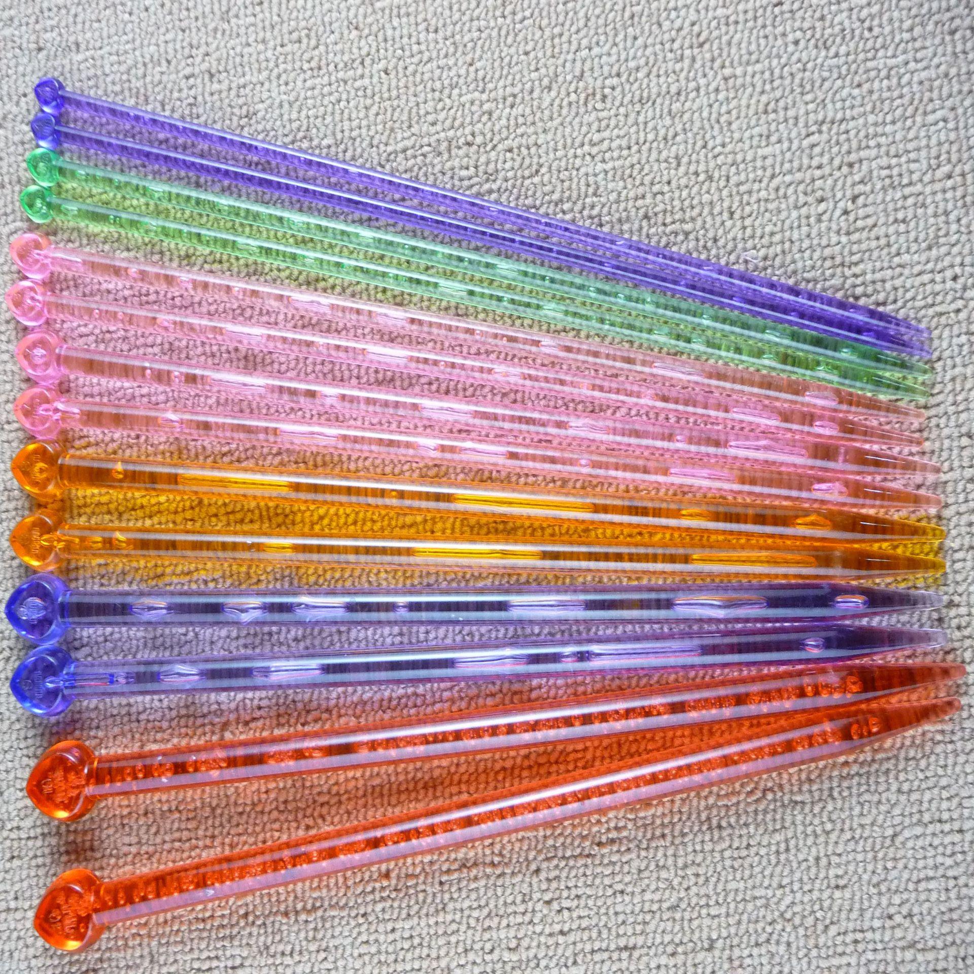 14pcs/set Multi-color Knitting Needles Knit Crochet Hooks Plastic Craft Weave Craft Plastic Single Pointed Knitting Sticks