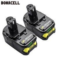 Bonacell 18V 4000mAh Li-Ion P108 P 108 Rechargeable Battery For Ryobi Battery RB18L40 P2000 P310 for BIW180 L50
