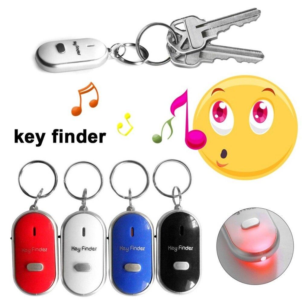LED Security Whistle Key Finder Motion Sensor Flashing Beeping Sound Alarm Anti-Lost Keyfinder Locator Tracker with Keyring