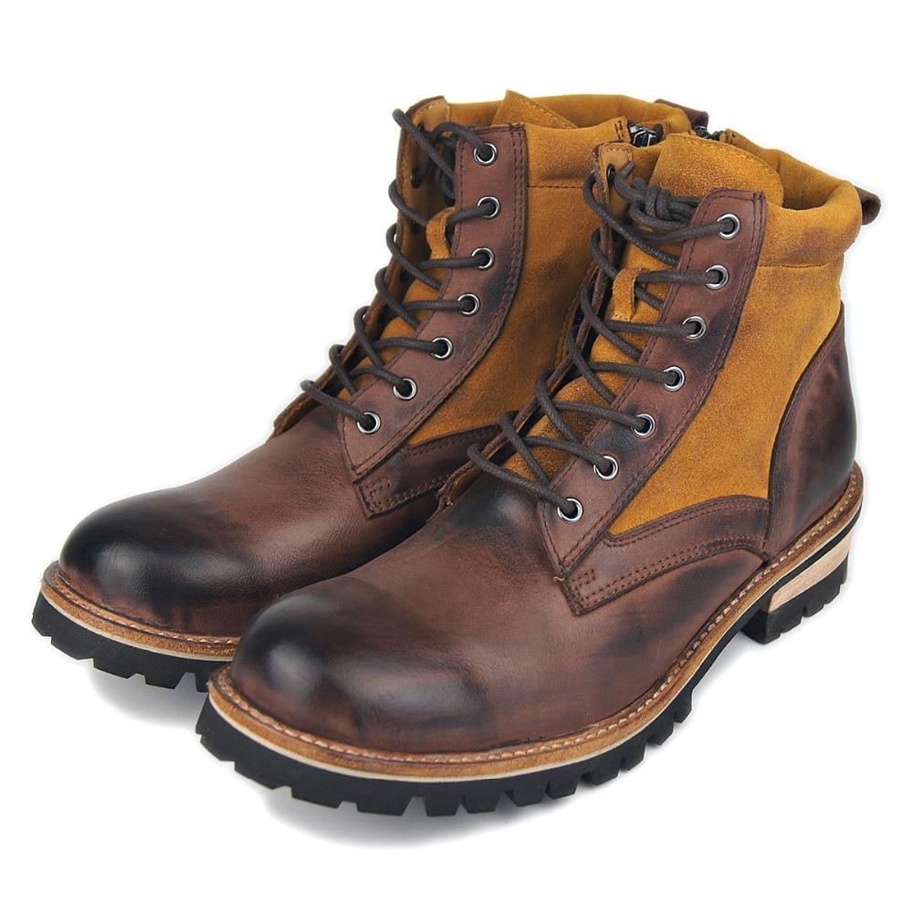أحذية جلدية أصلية للرجال ، أحذية الكاحل ذات الكعب المنخفض ، بانك ، قتال كاوبوي الغربي ، أحذية كلاسيكية للدراجات النارية ، روك