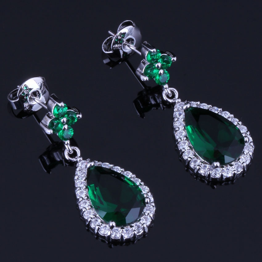 Awesome Water Drop Green Cubic Zirconia White CZ Silver Plated Drop Dangle Earrings V0748
