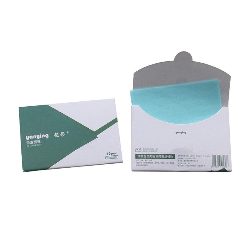 50 unids/caja Facial aceite secante láminas para aceite papeles absorbentes de aceite de Control cara maquillaje para la piel herramienta de cuidado de 10c x 7,2 cm