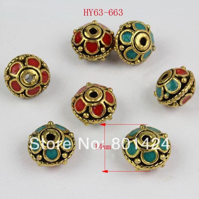 2 pcs 63-663 handmade contas tibetanos Indonésia Nepaleses Indianos 14mm barro liga de cobre do vintage contas espaçador