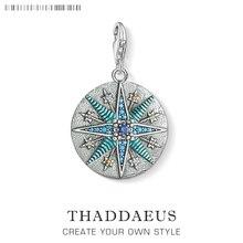 Vintage estrela azul encantos pingente thomas jóias achados acessórios 925 prata esterlina moda jóias ts presente para mulher