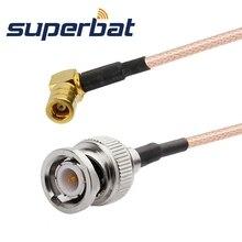 Superbat RF Coaxial cable conector macho SMB ángulo recto a BNC macho Cable recto Pigtail RG316 20cm