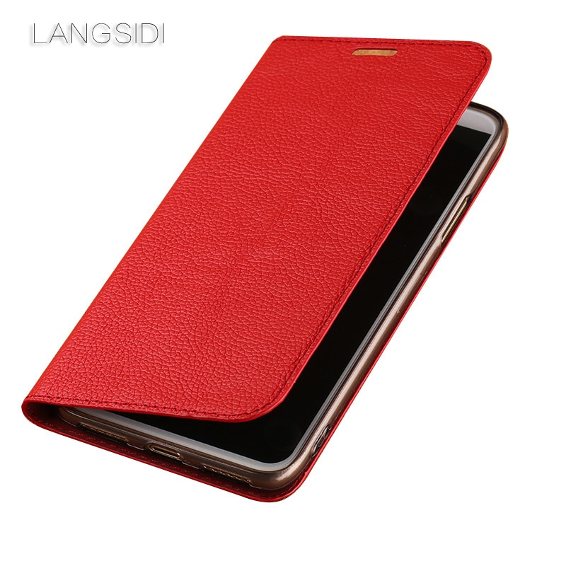 Funda de cuero auténtico LANGSIDI para teléfono iphone 11 pro max ultrafina litchi para iphone 11 pro 8 plus