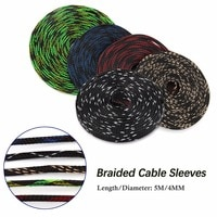5M 4mm Insulation Braided Cable Sleeve Tight PET Expandable Cable Sleeves High Density Sheathing Wire Gland Cables Protection