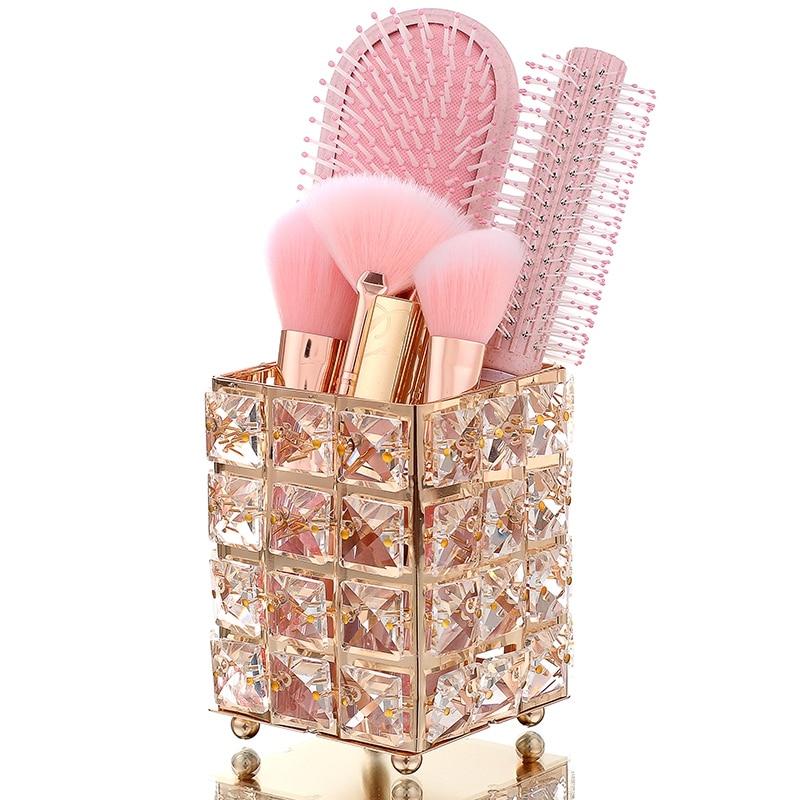 CHFL Crystal Makeup Brush Storage Bucket Eyebrow Pencil Comb Finishing Square Box Sign The Pen Holder