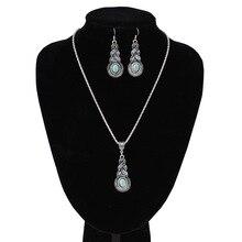 Kadınlar takı tibet gümüş renk CZ kristal zincir kolye kolye küpe seti yuvarlak takı setleri