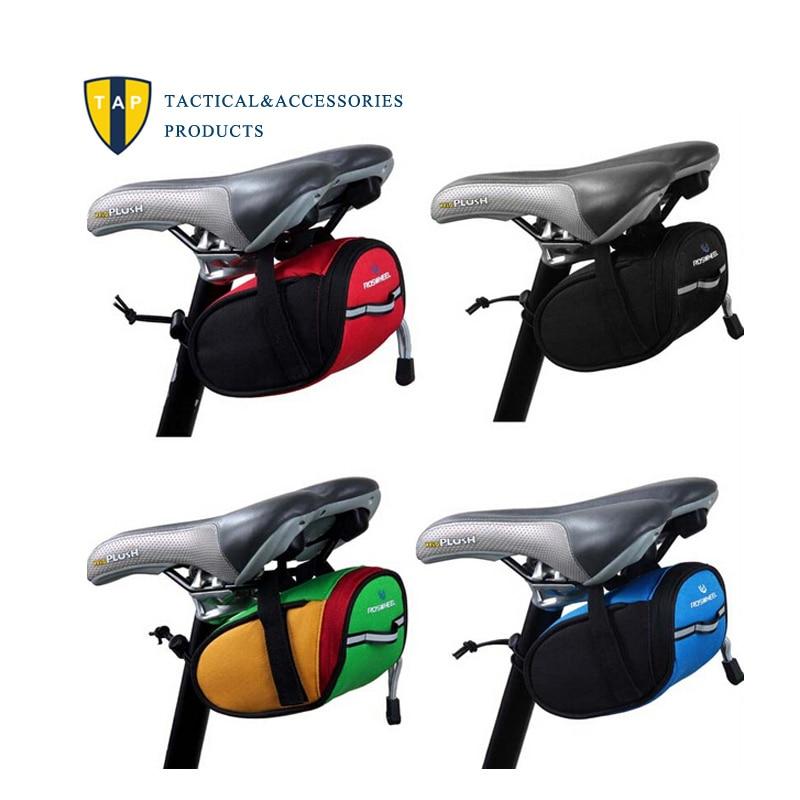 Roswheel-bolsas traseras para bicicleta, sillín de bolsa para bicicleta de montaña, bolsa trasera para asiento trasero, paquete negro reflectante/Verde/azul/rojo