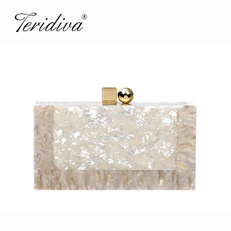 Acrylic Evening Clutch Box Bag For Women Wedding Party Fashion Handbags Chain Shoulder Bag Messenger Bags