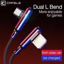CAFELE 90 derece oyun USB C kablosu için huawei xiaomi samsung oneplus hızlı şarj LED Sync naylon L tipi dokuma c tipi kablo
