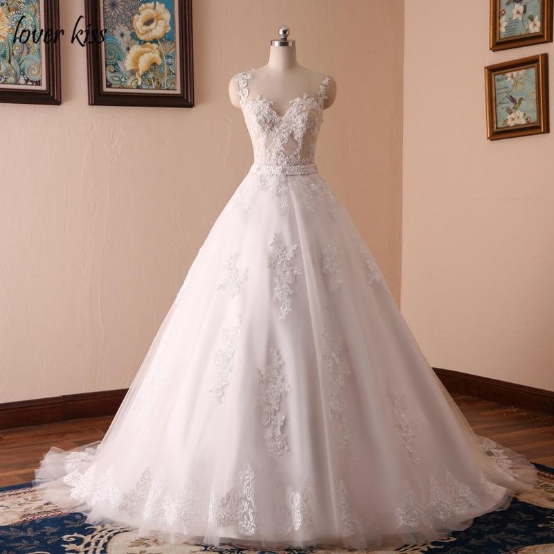 Свадебное бальное платье Lover Kiss Vestido De Noiva 2020, кружевное платье с жемчугом, без рукавов, с круглым вырезом, с поясом, настоящие свадебные платья, платье невесты