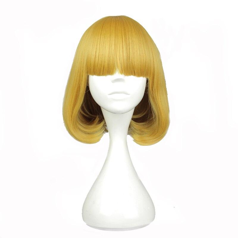 "Mcoser corto rizado 35cm 14 ""pelo amarillo sintético dorado resistente al calor fibra 100% WIG-582A de fibra de alta temperatura"